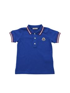Moncler Jr - Polo bluette con patch logo