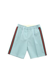 Gucci - Web ribbon bermuda shorts in light blue