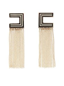 Elisabetta Franchi - Dangling fringed earrings in white and black