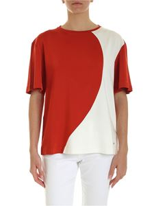 Fay - T-shirt with logo in brick red and white