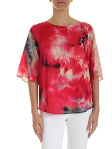 Kangra Cashmere - Satin blouse in shades of red