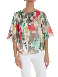 Kangra Cashmere - Multicolor printed blouse in white