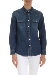 Jacob Cohën - Patch pockets shirt in blue denim