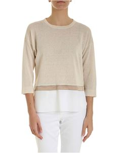 Peserico - Ecru color sweater with satin details