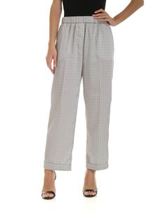 Peserico - Printed palazzo trousers in grey and white