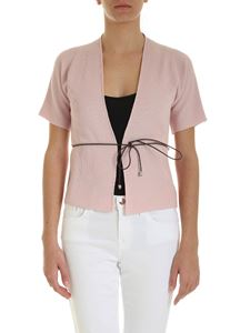 Peserico - Belt crop fit cardigan in pink