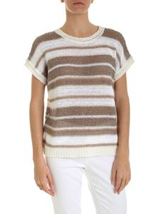 Peserico - Micro sequins pullover in white and brown