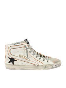 Golden Goose - Slide sneakers in white and orange
