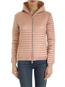 Save the duck - Quilted jacket with logo patch in pink