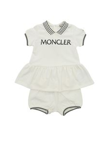 Moncler Jr - Logo T-shirt and shorts in ivory color