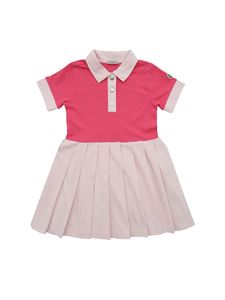 Moncler Jr - Pleated dress in fuchsia and pink