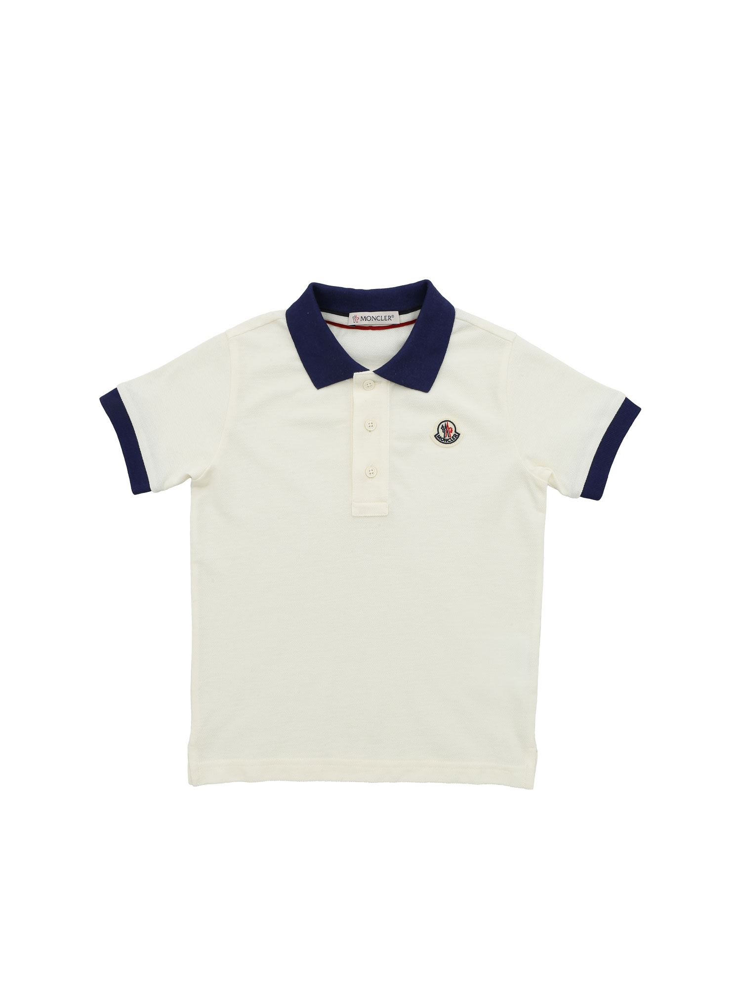 Moncler Jr LOGO PATCH POLO SHIRT IN IVORY COLOR