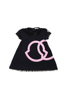 Moncler Jr - Pink logo and tulle dress in black