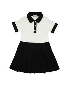 Moncler Jr - Pleated dress in black and white