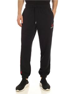 New Balance - White and red logo pants in black