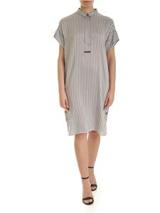 Peserico - Striped shirt dress in white and brown