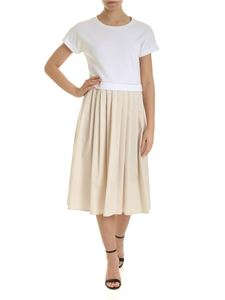 Peserico - Pleated dress in white and beige