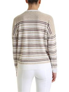 Peserico - Linen and cotton pullover in white and brown