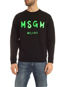 MSGM - Neon green brushed logo sweatshirt in black
