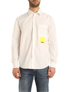 MSGM - Neon yellow logo print shirt in white