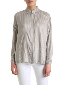 Peserico - Striped shirt in white and brown