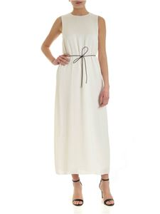 Peserico - Long dress in white with brown strap