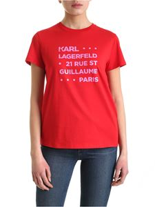 Karl Lagerfeld - Stacked Logo Address T-shirt in red