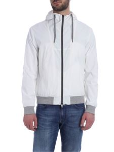Herno - White jacket with knitted edges