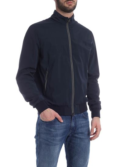 Herno - Knitted edges jacket in blue