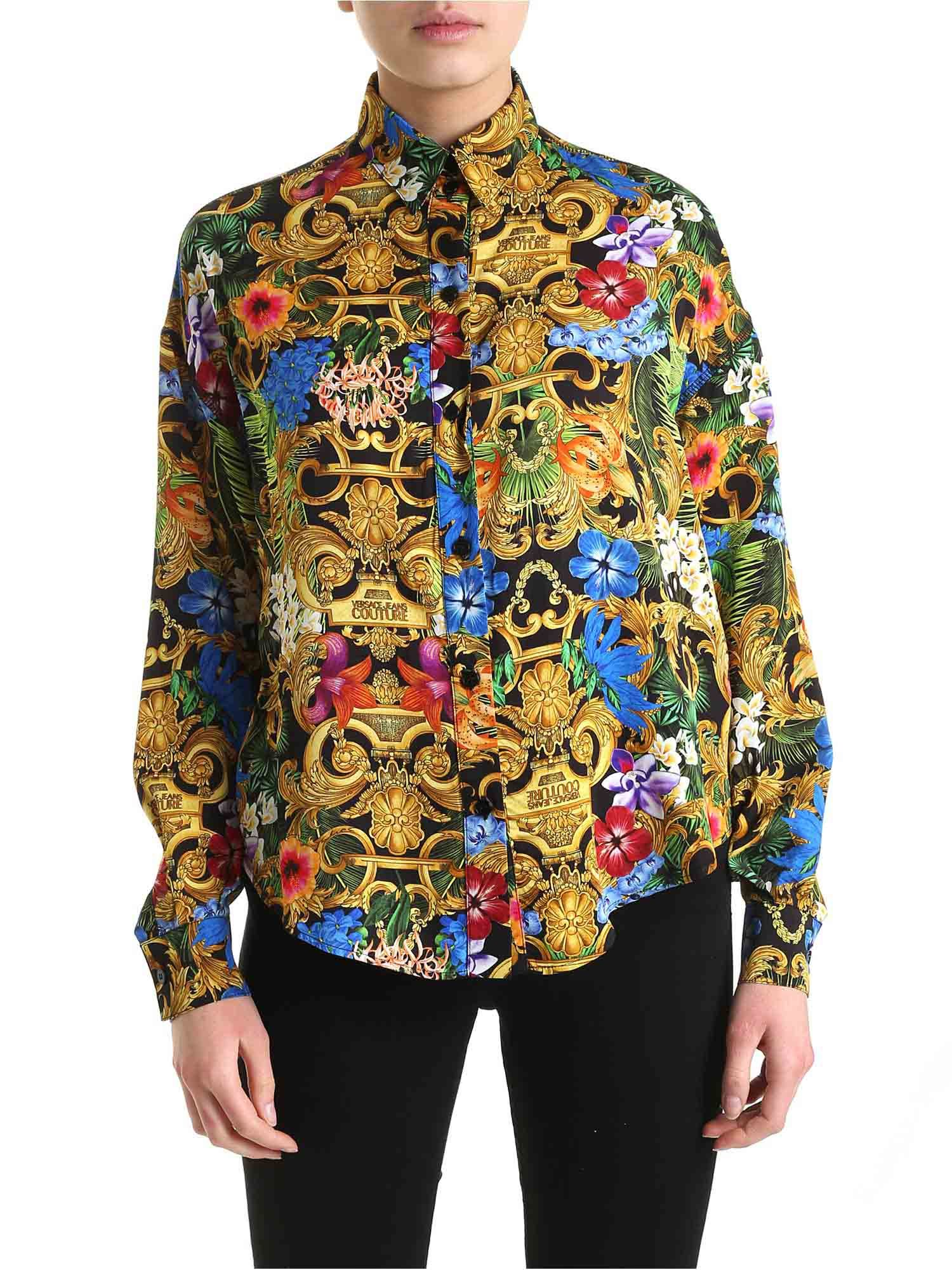 VERSACE JEANS COUTURE TROPICAL BAROQUE MULTICOLOR SHIRT