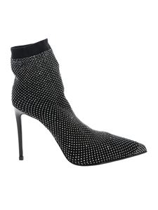 Le Silla - Gilda ankle boot in black with rhinestones