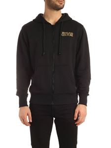 Versace Jeans Couture - Maxi golden logo hoodie in black