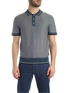 Z Zegna - Knit polo shirt in teal blue color