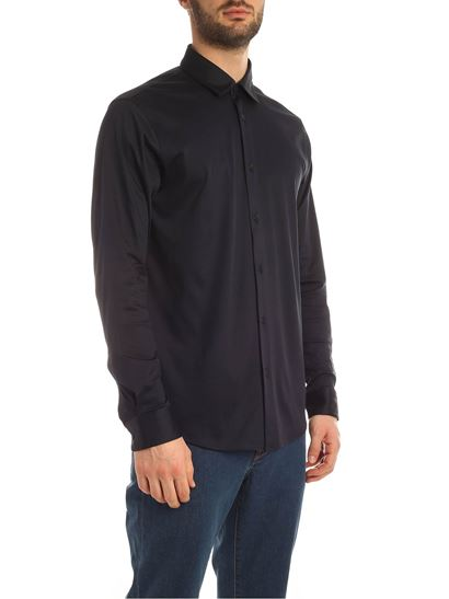 Z Zegna - Jersey long-sleeves polo shirt in blue