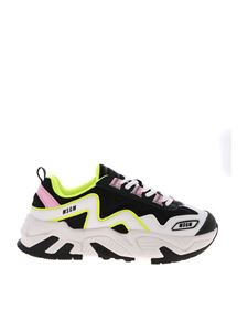 MSGM - Neon details sneakers in black and white