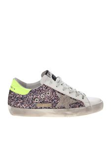 Golden Goose - Sneakers Superstar glitterate con talloncino fluo