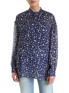 Dondup - Chain print blouse in white and blue
