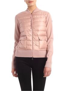 Moncler - Cardigan in pink with padded insert