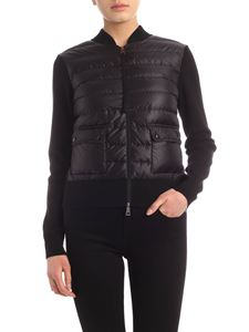 Moncler - Cardigan in black with padded insert