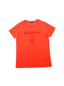 Balmain - Flock logo print T-shirt in red