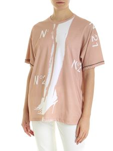N° 21 - Logo print T-shirt in pink and white