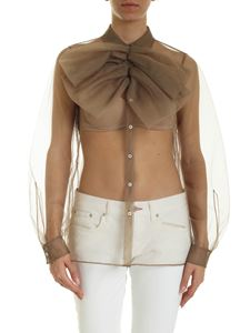 N° 21 - Maxi bow tulle shirt in mud color