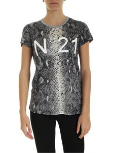 N° 21 - Reptile print T-shirt in blue and grey