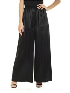 MM6 Maison Margiela - Wide leg trousers in black satin