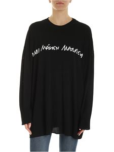 MM6 Maison Margiela - Black pullover with logo intarsia