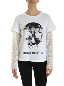 MM6 by Maison Martin Margiela - White T-shirt with lace trim