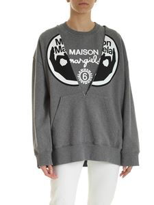 MM6 Maison Margiela - Melange grey printed sweatshirt with top