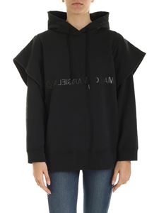 MM6 by Maison Martin Margiela - Black sweatshirt with tone-on-tone logo