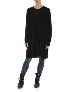 MM6 by Maison Martin Margiela - Black cardigan with white logo intarsia