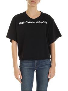 MM6 Maison Margiela - Black crop sweatshirt with white logo print
